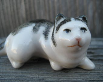 Black and White Tabby Cat Figurine