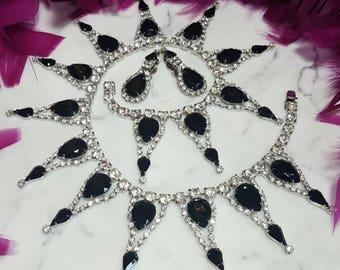 DOMINIQUE~Huge Vintage Black/Clear Swarovski Crystal/Rhinestone Runway Statement Bib Necklace/Earrings