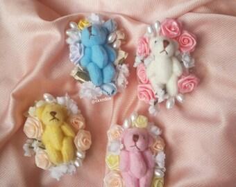 Floral mini teddy bear pin/brooch/clip