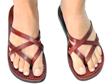 Women leather sandals ,Jesus sandals strappy leather sandals slip on  ,The genuine brand  sandals from  Jerusalem ,Free shipping Sandals .