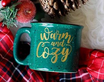 Warm and Cozy Campfire Mug / Christmas Mug / Holiday Coffee Mug / Campfire Mug / Let's Get Cozy / Christmas Coffee Mug / Camping Mug