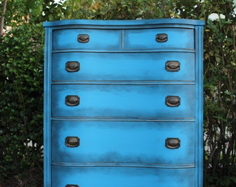 drexel vintage duncan phyfe genuine mahogany bow front highboy dresser chest of drawers blue