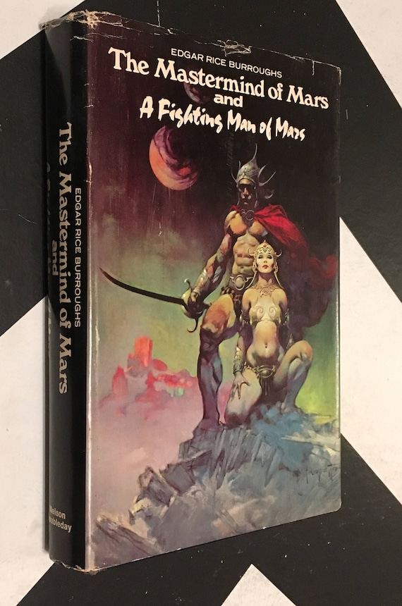 The Mastermind of Mars and A Fighting Man of Mars by Edgar Rice Burroughs black vintage science fiction space novel book (Hardcover, 1973)