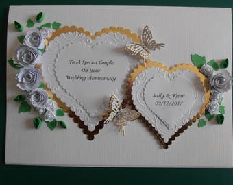 Personalised Handmade Wedding/Anniversary Card Gold Hearts and Butterflies