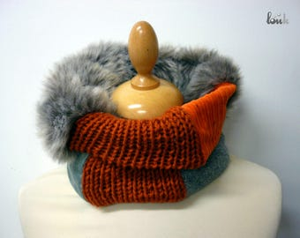Collar snood sewing & knitting orange and gray