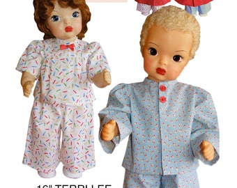 "Terri and Jerri Lee Sewing Patterns for 16"" Doll: Pajamas, Robe & Slippers"