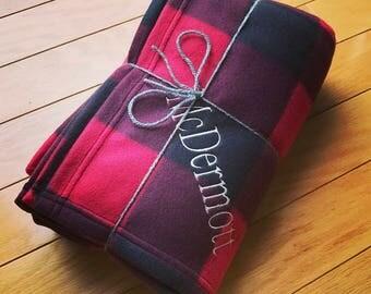 Personalized Plaid, Camo or Animal Print Fleece Blanket- Monogrammed Blanket- Embroidered Blanket