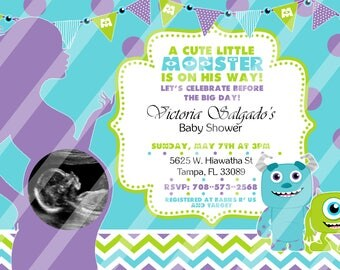 Baby Monsters Baby Shower Invitations, Monsters Baby Shower Invitations, Baby Shower Supplies, Print Your Own, Digital Invitation
