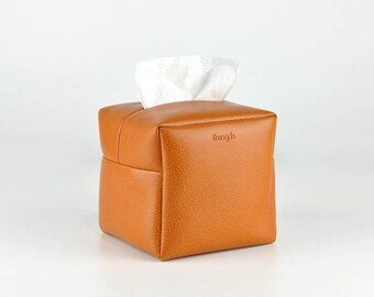 Square Tissue Box Cover, Facial Tissue Holder, Toilet Paper Holder, Soft Touch, Orange
