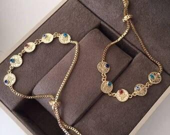 PROMO FREE SHIPPING - evil eye bracelet - gold plated evil eye bracelet - gold evil eye bead bracelet - blue evil eye charms - adjustable br