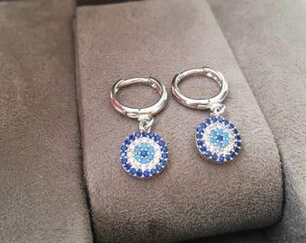 Evil eye hoop earrings, silver evil eye earrings, zirconia evil eye earrings, silver earrings, silver hoop earrings, evil eye jewelry