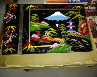 1950s Japanese Lacquer Musical Photo Album Okinawa B&W With original box Brend new