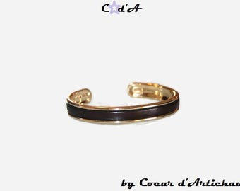 Bangle gold and Brown Leather Bracelet