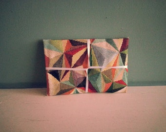 Multi-Coloured Geometric Patterned Handmade Fabric Envelope / Gift Pouch - ideal for invitations, gift vouchers, your own handmade cards