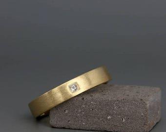 SALE Christmas in July! Diamond Gold Men's Wedding Ring | Handmade 14k solid gold men wedding ring set with a princess cut diamond