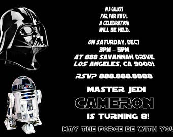 Star Wars Invitation - Darth Vader R2D2 Birthday Party Invitation - Birthday Party Invite - Digital - Personalized Customized