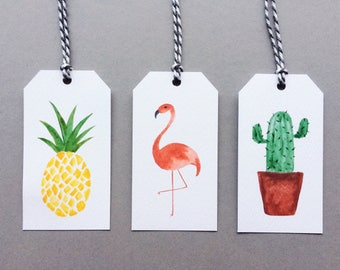 Tropical Gift Tags // 3 pack // Flamingo, Cactus & Pineapple Present Wrapping Decoration // Colourful Charity Gift Wrap