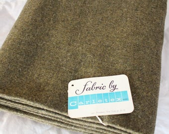 Vintage Wool Tweed Fabric ~ *5 Yards - Good Quality ~ Olive Greenish Tweed Large Yardage by Carletex Broadway 36, NY, Park Tweed Suiting