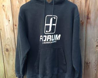 90s? Black forum snowboarding hoodie - Large