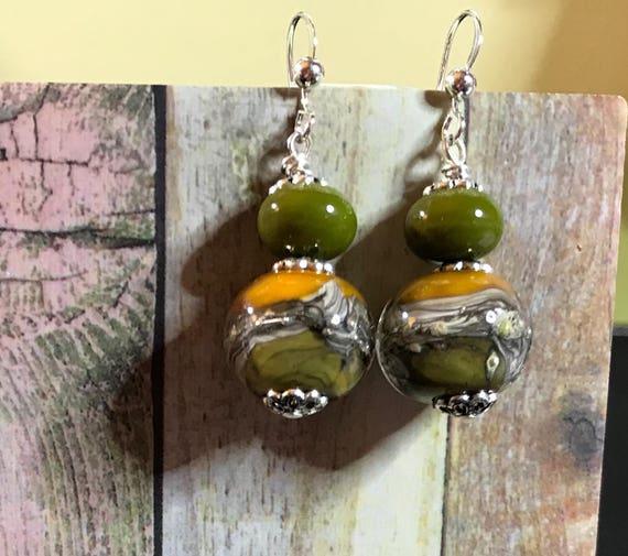 Lampwork Boro Glass Bead Dangle Earrings Greens Yellows and Silver
