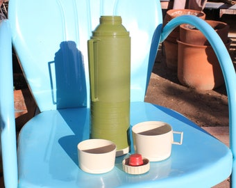 1960's - 70's Vintage Thermos - Glass Insulated - 13 1/2 Inches Tall - Avocado Green with Sand / Beige Cap, and 2 cups - Excellent Condition