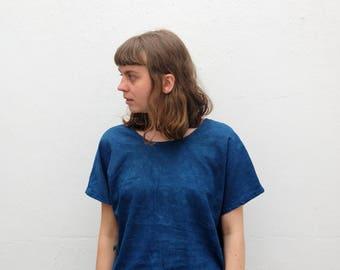 The IO top: one piece tee in indigo linen