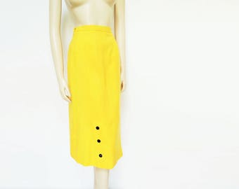 Vintage Yellow Pencil Skirt, UK12, Pinup, 1980's, 1940s, 1950s, 1960s, Canary Yellow, Pencil Skirt, Bright, Retro, Bold Colour