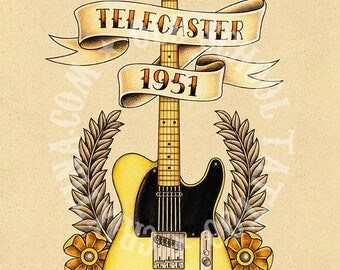 TELECASTER 1951. guitar, ribbon, Flash tattoo. Old school tattoo, tattoo illustrations, Instant Download. Printable Illustration.