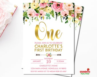 Girl 1st Birthday Invitation. Floral 1st Birthday Invitation. First Birthday. Girl Birthday. Customize Printable Invitation. A15 A54 A55