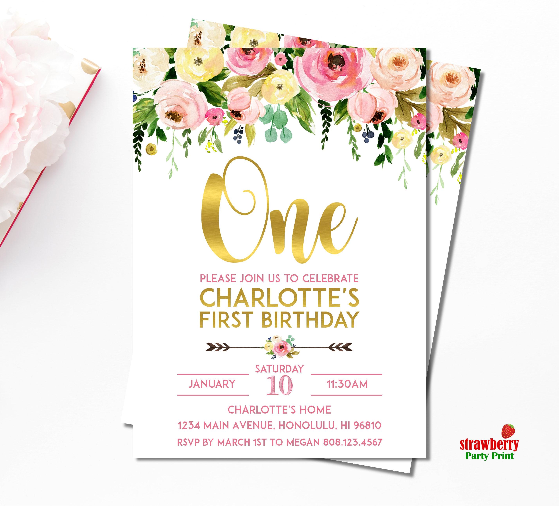 Girl 1st Birthday Invitation. Floral 1st Birthday Invitation. First ...