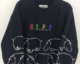 Vintage 90's U S P P Black Classic Design Skate Sweat Shirt Sweater Varsity Jacket Size M #A792