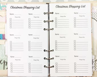 Personal Size Christmas Shopping List, Christmas Inserts for Ringbound Planners