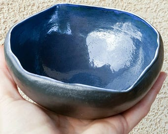 Porcelain bowl,black bowl,handmade bowl