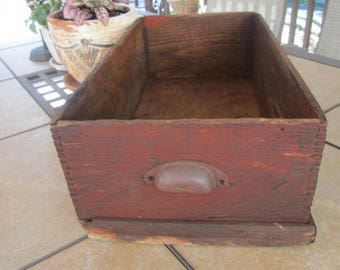 Large Wooden Drawer Vintage Wood Box Rustic Storage