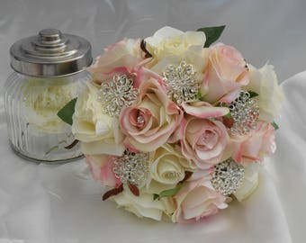 wedding bouquet rose bouquet silk bouquet weddings bridal bouquet silk flower bouquet pink bouquet ivory bouquet brooch bouquet