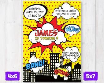 Comic Birthday Invitation, Superhero Birthday Invitation, Superheroes Invite, Super hero Invitation Comic Birthday Party, Printable comics
