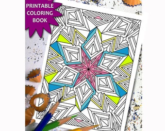 27 Geometric Patterns Coloring pages Printable, Adult Coloring Book Download LineArt Instant Download Printable Coloring Book For Adults