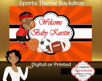 Sports Theme Backdrop | Sneakers | Basketball | Football |  Soccer | Game | Jersey | Candy Table Backdrop