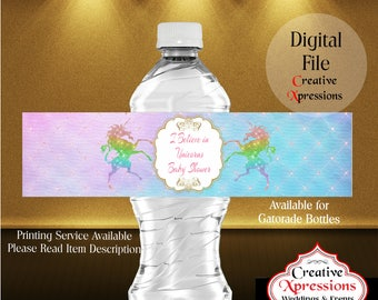 Unicorn Magic Water Bottle Wrappers | Baby Shower | I Believe in Unicorns | Gold Glitter Unicorns | Rainbow Unicorns