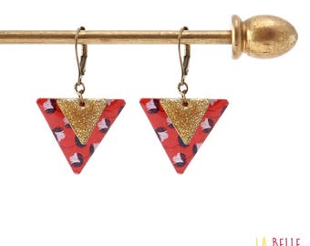 Earrings resin triangle floral enamel and red glitter