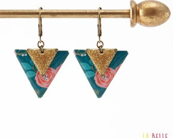 Earrings resin triangle floral enamel and blue glitter