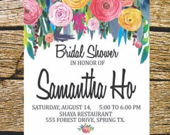 Digital invitation, bachelorette, Bridal Shower, flowers watercolor.