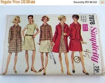 On SALE Vintage 1960s Mod Sheath Dress Suit Coat Sewing Pattern / A-line dress / Plus Size 20 1/2 bust 43/ Uncut Simplicity 7878 Pattern 5 O