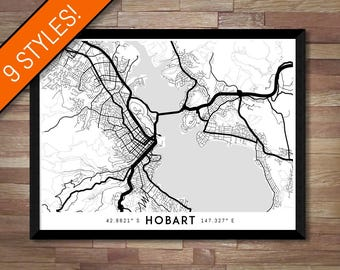 Every Road in Hobart map art | Printable Hobart map print, Hobart print, Hobart poster, Hobart art, Wall art, Tasmania map, Australia map