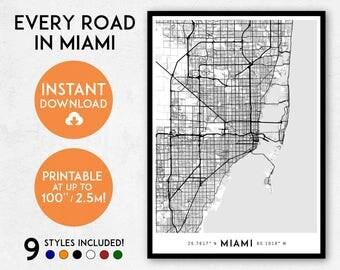 Miami map print, Printable Miami map art, Florida map print, Miami print, Miami art, Miami poster, Miami wall art, Miami gift, Map of Miami