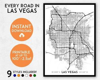 Las Vegas map print, Printable Las Vegas map art, Las Vegas print, Nevada map, Las Vegas art, Las Vegas poster, Las Vegas wall art, USA map