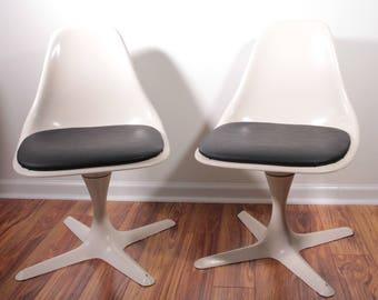 Vintage fiberglass side chairs by Burke