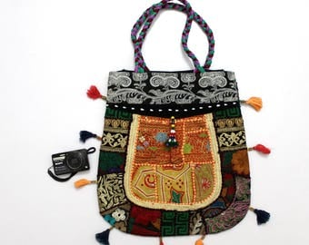 Handmade Ethnic Designer Tribal Banjara Patchwork Embroidered Hippy Fashionable Stylish Trendy Hippie Gypsy Boho Bohemian Carry Bag G266