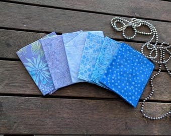 """FREE DOMESTIC POSTAGE - Batik Fat Quarters x 6 Hand Dyed 100% Cotton Quilting Craft Sewing Fabric """"Lavendar"""""""