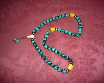 Tibet mala with turquoise and amber beads